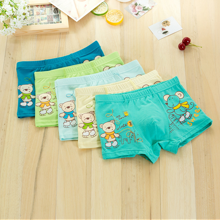 5 colors Skating children Underwear,new COTTON boys underwear , Cartoon boys boxers , boy stripe Boxer shorts 3-11years