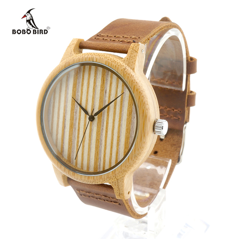 Bobobird A20Womens Casual Antique Round Bamboo Wooden Watches With Leather Strap Lady Watches font b Top