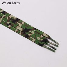 (30pairs/Lot)Weiou Fashion Trend Polyester Printed Camo Flat Sports Laces Thermal Transfer Printing Camouflage Laces For Gifts(China)