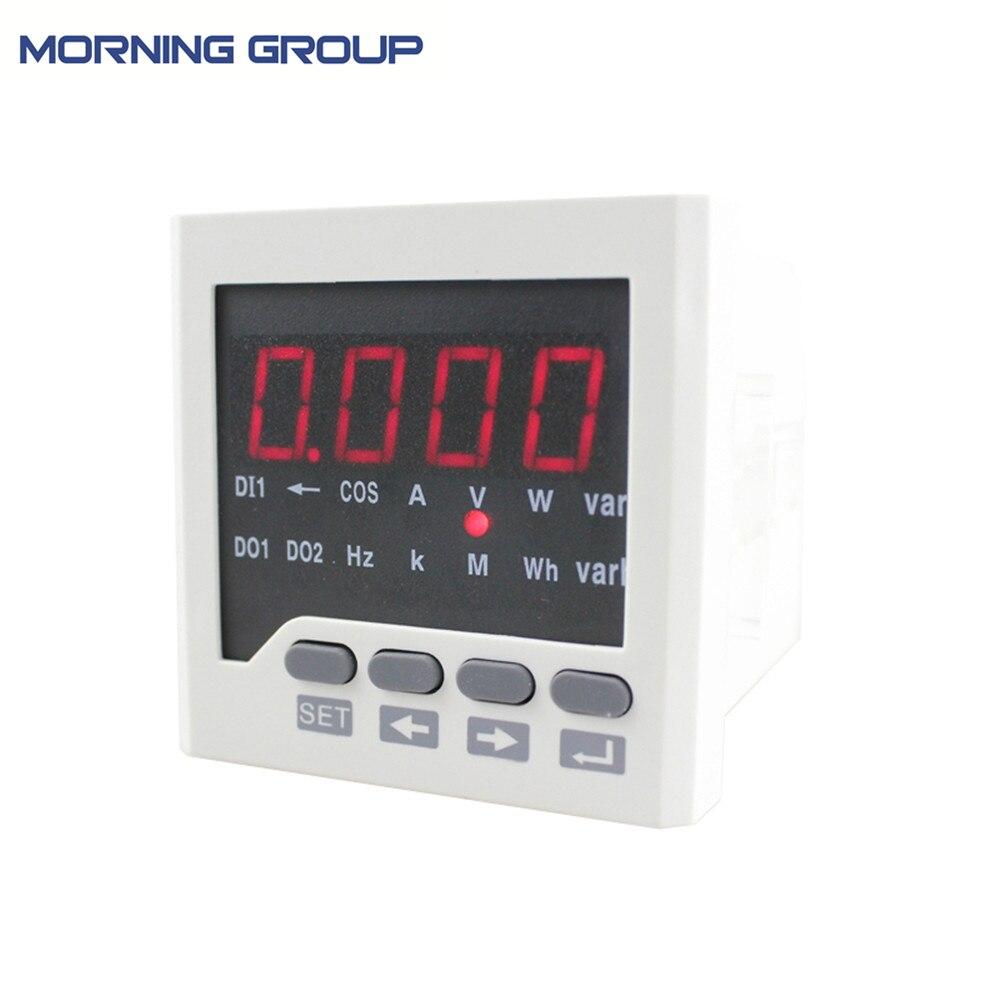 D6 panneau taille 72*72 ac monophasé led numérique compteur d'énergie pour usage industriel