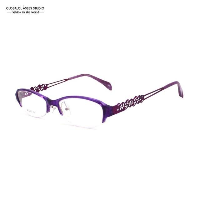 3f9df249c1 Luz Flexible Oval Lente Gafas de Media Llanta Marco Mujeres Brillante Color  Púrpura Hollow Metal Oficina