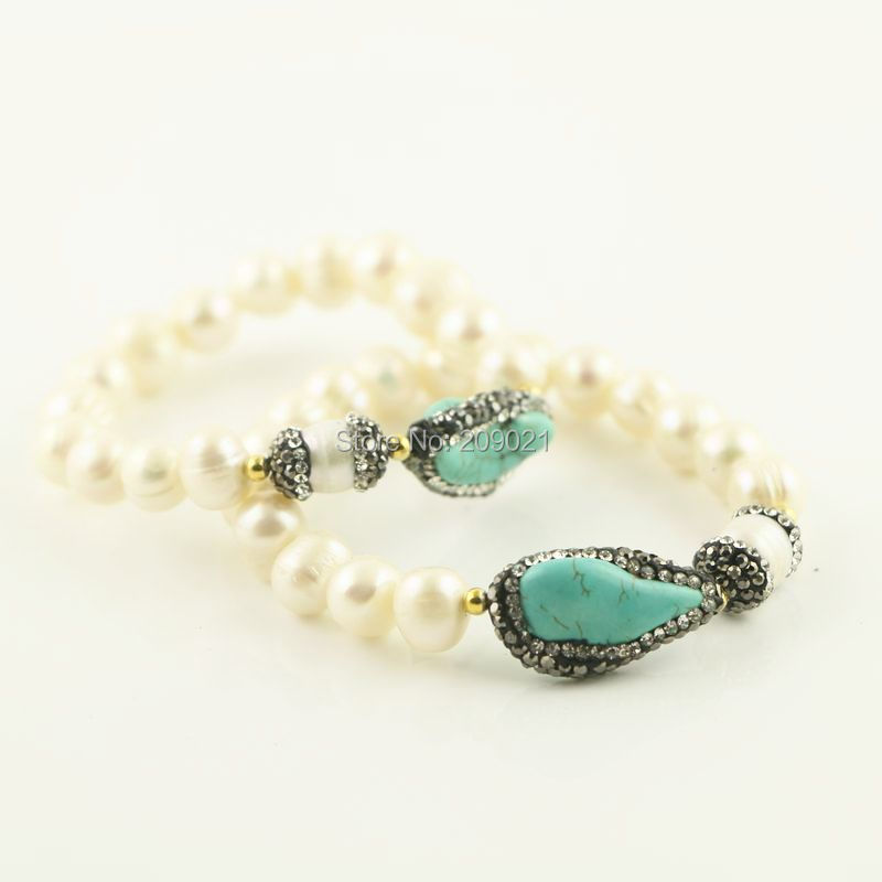 Trendy 6pcs Pave Rhinestone Crystal Blue Stretch Bracelet Pearl Charms Bracelets Jewelry Finding Gift