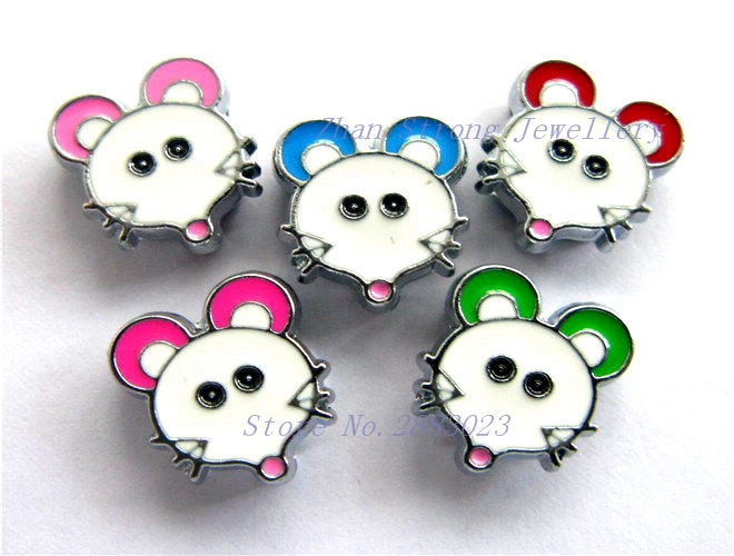 Free Shipping 10pcs-50pcs-100pcs 8mm Mixed Color Mouse Head Zlloy Slide Charms Fit 8mm DIY Bracelet Pet Collar And Key Chain