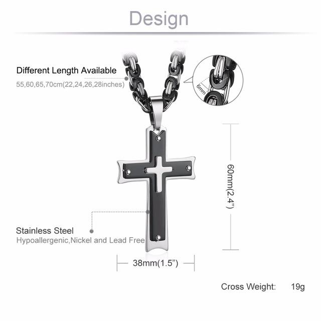 Herrkedjor – halsband med kors i svart och stålgrått.