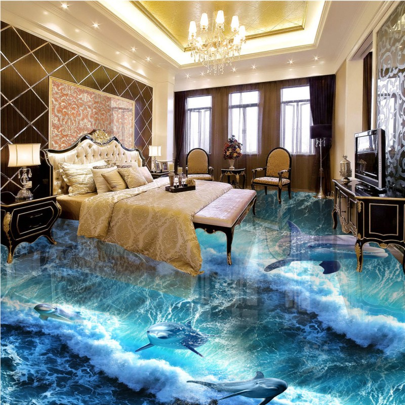 Free shipping custom self-adhesive home decoration floor living room bedroom bathroom wallpaper mural Dolphin Ocean 3D Floor