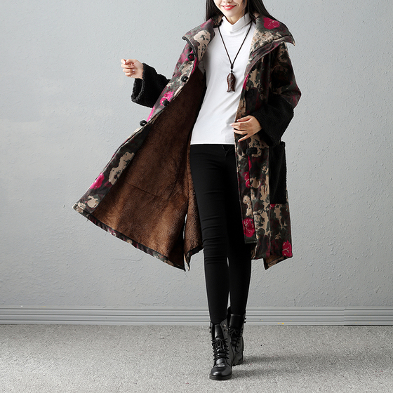 Plus Size 2017 Winter Women Parkas Chinese Style Printed Plus Velvet Warm Thickening Long Outwear Fashion Female Cardigan поло print bar книга джунглей