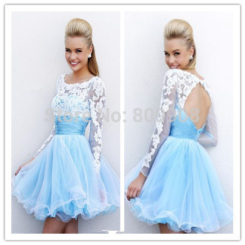 082dd8d8d4c 2014 Cheap Organza Lace Long Sleeves Short Prom Dresses Homecoming Party  College Graduation Dresses Light Blue Sexy Open Back