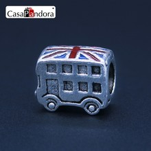 CasaPandora Silver-Colored Christmas Car Bus London Bus British Flag Fit Bracelet Charm DIY Enamel Jewelry Pingente Berloque(China)