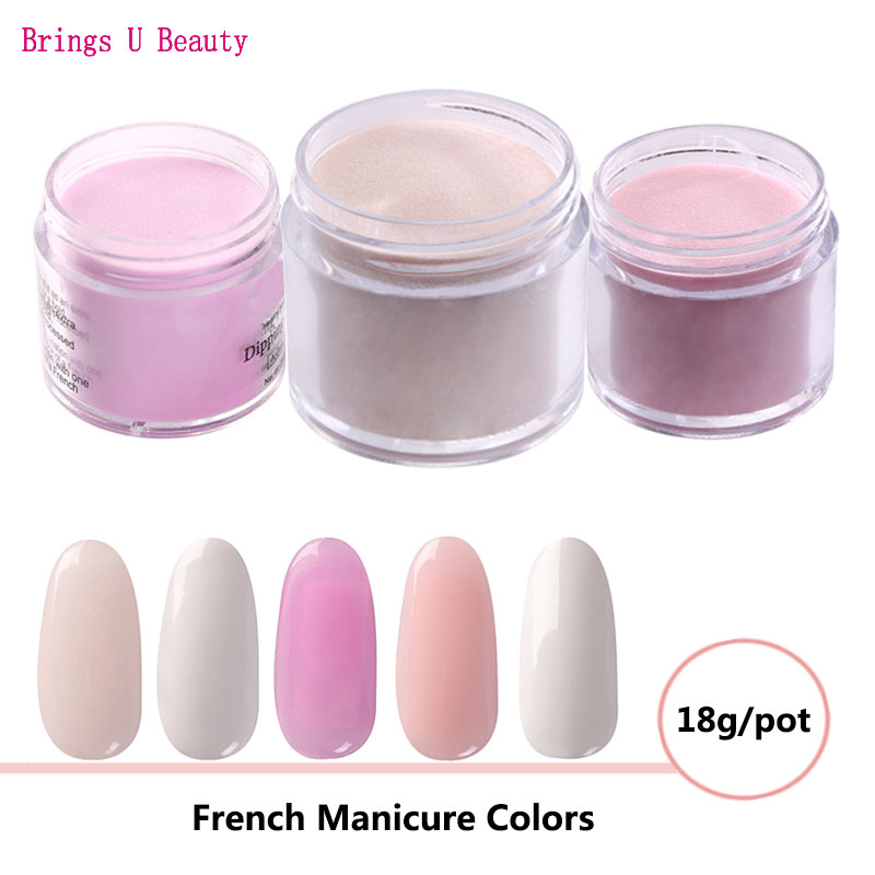 18g/Box Pink White Nude Colors French Manicure Dipping Powder No Lamp Cure Nails Dip Powder Gel Nail Color Powder Natural Dry 6pcs box dipping powder top base coat activator kit dip system no uv light needed fast dry dip powder nails starter kit