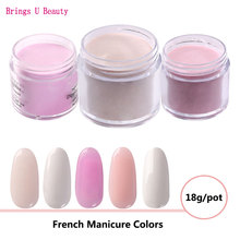Very Fine 18g/Box Pink White Nude Colors French Manicure Dipping Powder No Lamp Cure Nails Dip Powder Nail Gel Natural Dry