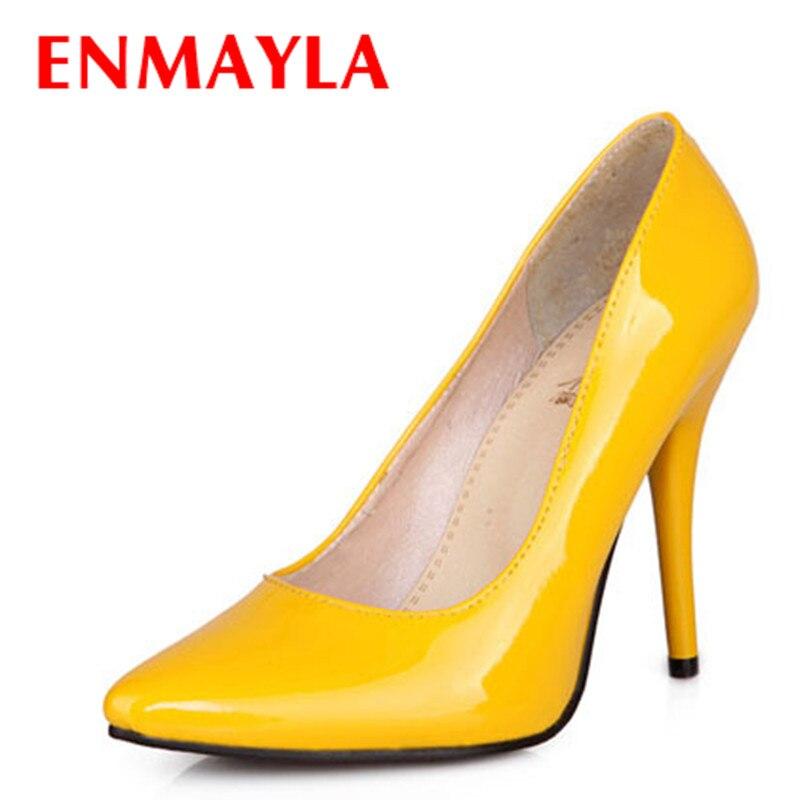 ENMAYLA 7 Colors Women Stiletto High Heel Shoes Woman Sexy Pointed Toe Wedding Fashion Heels Pumps Ladies Big Size