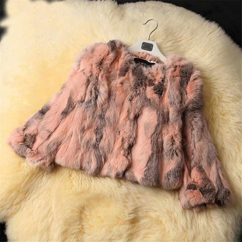 Ethel Anderson Gerçek Tavşan Kürk Ceket kadın Çiçek Ceket 3/4 Kollu Dış Giyim