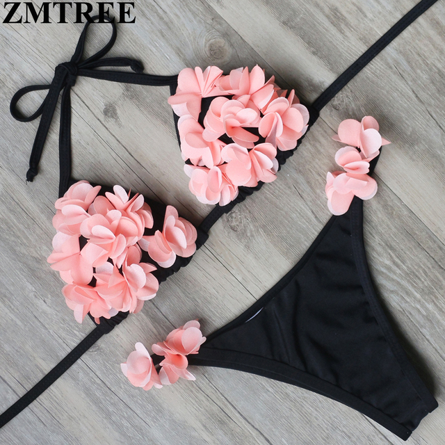 f04d2a9689 ZMTREE 2017 New Bikini Sexy Floral Swimwear Women Swimsuit Brazilian Biquinis  Top Push Up Bra Bikinis Set Beach Bathing Suit