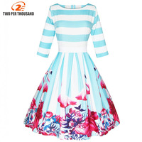 Women Pin Up Vintage Dress Floral Print Rockabilly Bow Belt Dresses Blue White Stripes Fall Winter A Line Vintage Dresses