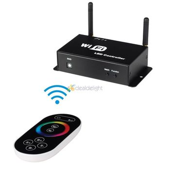 DC5V/12V/24V 12A Mobile Phone Smartphone WiFi & Wireless RGB LED Controller With Touch Panel Remote