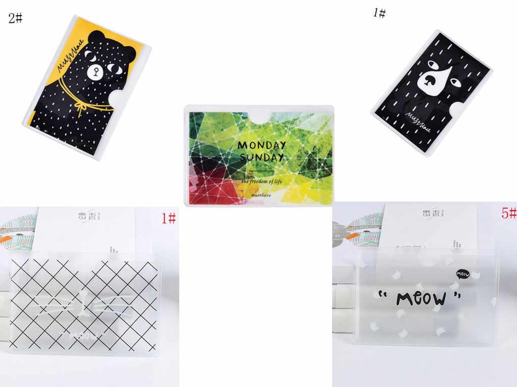 Moderna funda transparente de PVC para viaje en verano con tarjetero para tarjetas de crédito, funda para mujer, bolsa de transporte con tarjeta para autobús o coche
