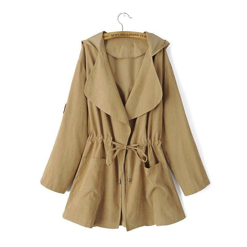 HTB1gDZ6eC3PL1JjSZFtq6AlRVXa3 New 2019 Women Jack Coat Autumn Long Sleeve Hooded Coat Jacket Casual Elastic Waist Pocket Kimono Female Loose Outwear