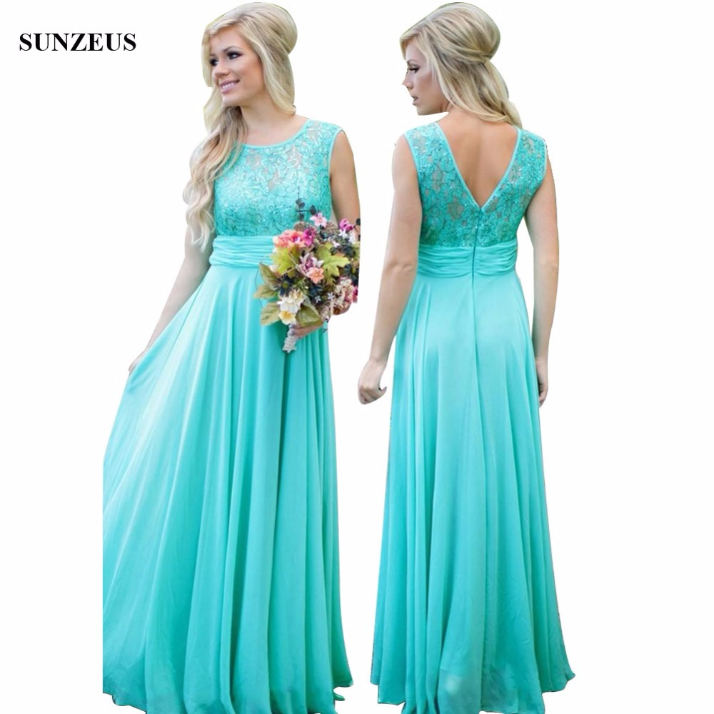 Elegant Turquoise   Bridesmaid     Dresses   A-line Sequined Lace Wedding Party   Dress   Chiffon Long Women   Dress   BDS006