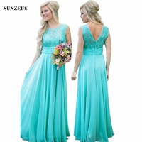 Elegant Turquoise Bridesmaid Dresses A line Sequined Lace Wedding Party Dress Chiffon Long Women Dress BDS006
