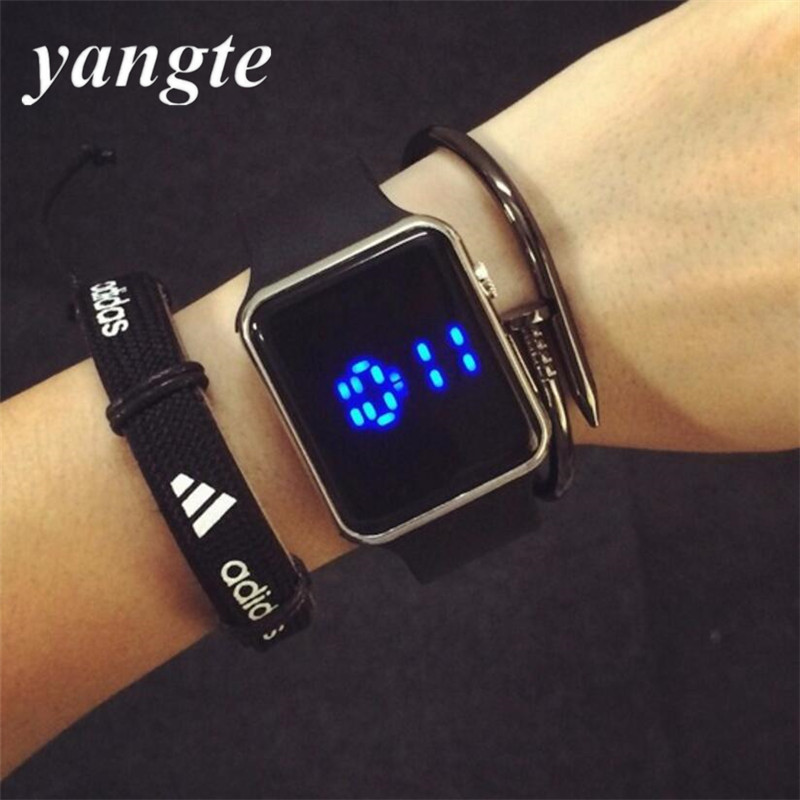 YANGTE Square Dial Men Women Touch Screen Watches Digital Display LED Silicone Wristwatch Relogio Masculino Montre