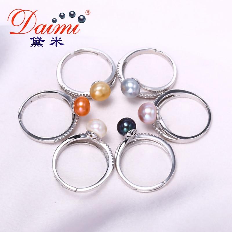 DAIMI Ring 7-8 MM Süßwasser Perle Ring 6 Farbe Mode Nettes Geschenk - Edlen Schmuck - Foto 4