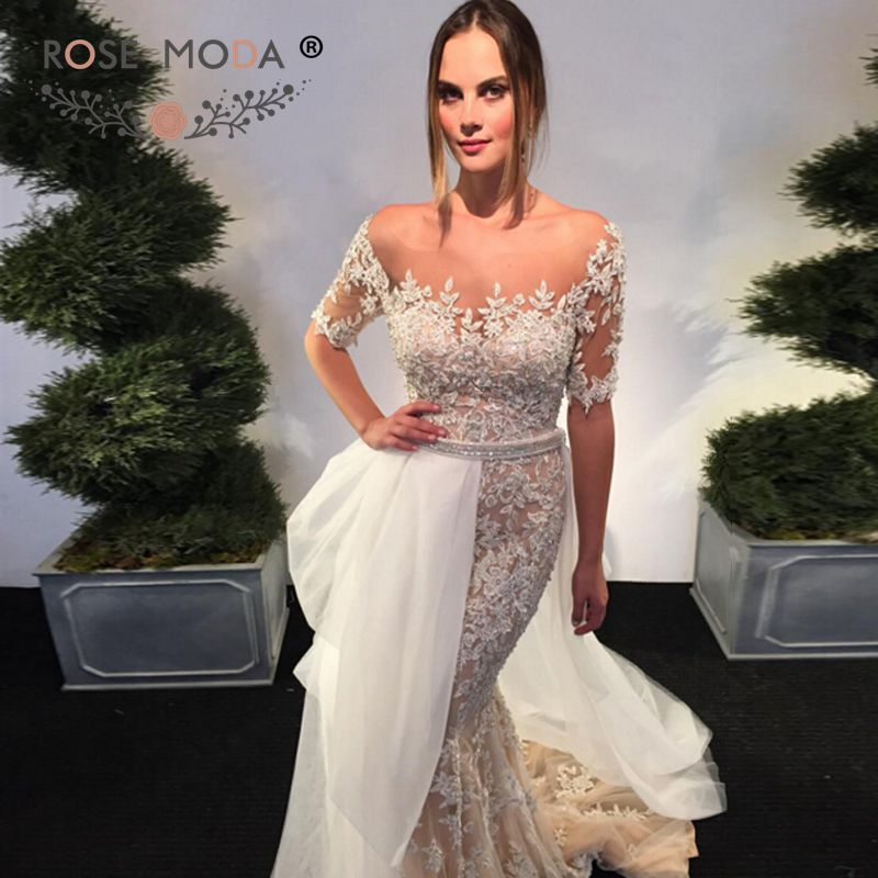 Rose Moda Short Sleeve Lace Mermaid Wedding Dress with Removable Skirt Lace Bridal Dress with Crystals