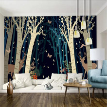 Custom wallpaper elk forest background wall vintage hand-painted watercolor decorative waterproof material