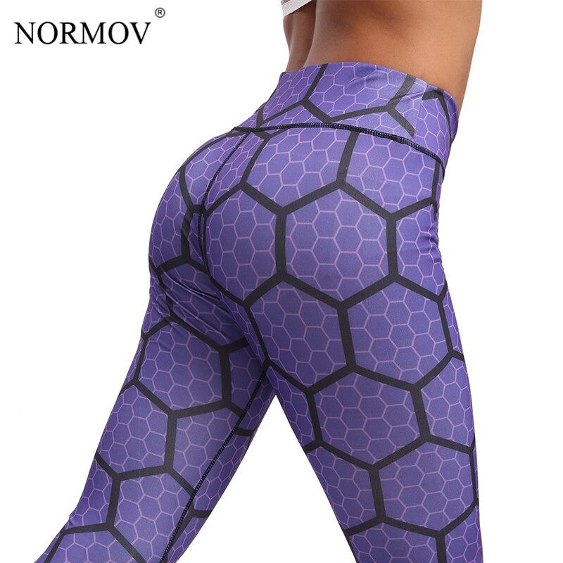 NORMOV Honeycomb Digital Printed Leggings Women Workout High Waist Pants Ladies Fitness Clothing Female Print Leggins Push Up