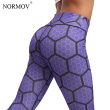 NORMOV Honeycomb Digital Printed Leggings Women Workout High Waist Pants Ladies Fitness Clothing Female Print Leggins