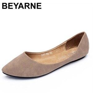 Image 1 - BEYARNE moda renk blok dekorasyon düz topuk tekne ayakkabı renk blok sivri burun düz mokasen gommino sevimli ayakkabı tek ayakkabı