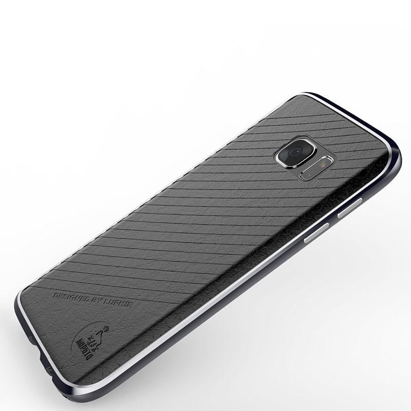 imágenes para Nueva Noble de Lujo Bumper Para Samsung Galaxy Caso de Aluminio Para Samsung S7 S7 Parachoques del Metal Cubierta de Cuero Protectora Avanzada