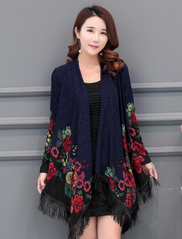 2018 весна и осень пальто с принтом свободный жакет большой женский Размер открытым пальто 01