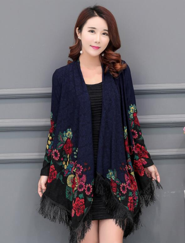 2018 Spring and autumn coat printed loose coat large size female open coat 01 bell sleeves buttoned loose fitted coat