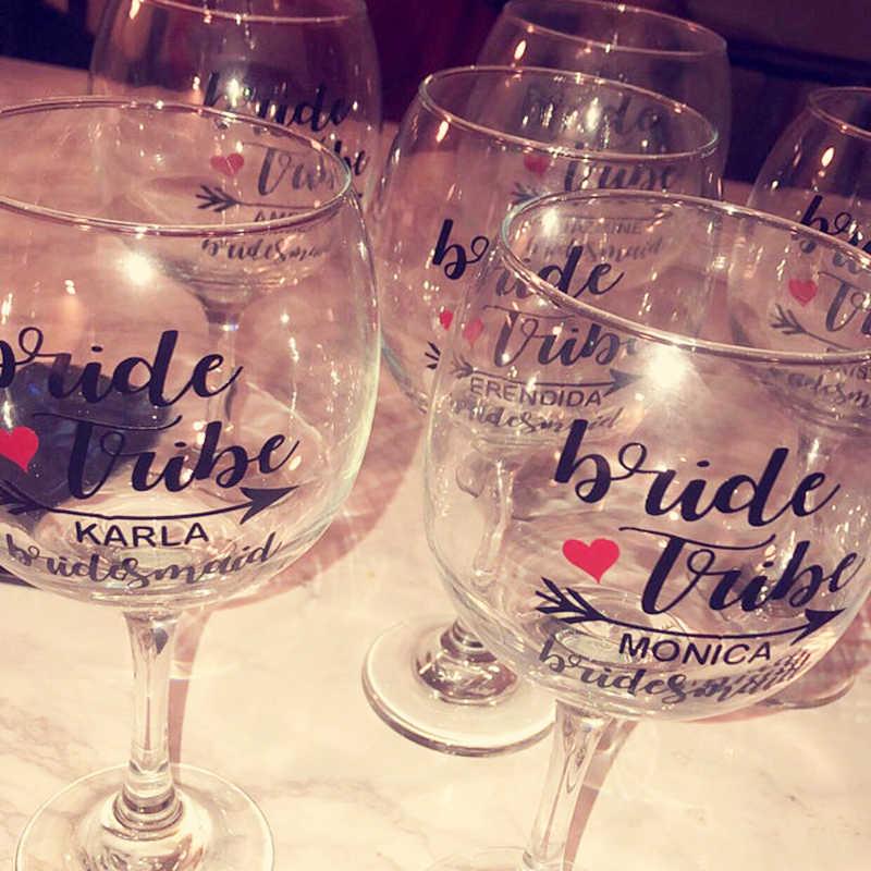 Персонализированные сердца Стрелка Свадебные вечерние наклейки на стекло вина, Пользовательские невесты стакан виниловые наклейки с чашками Свадебные украшения