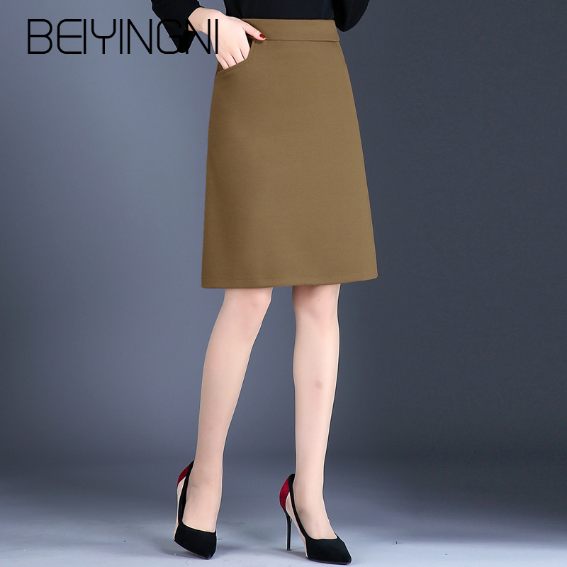 Beiyingni Formal Skirts Women Office Lady Pockets Korean Style High Waist A Line Skirt Plus Size Work Wear OL Slim Saia Feminina