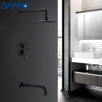 GAPPO Shower Faucets waterfall shower black rain shower sets bathroom faucet tap wall mounted bath shower mixer faucet set