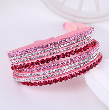 Crystal Multi-Layer Wrap Bracelets Bracelets Jewelry New Arrivals Women Jewelry Metal Color: pink