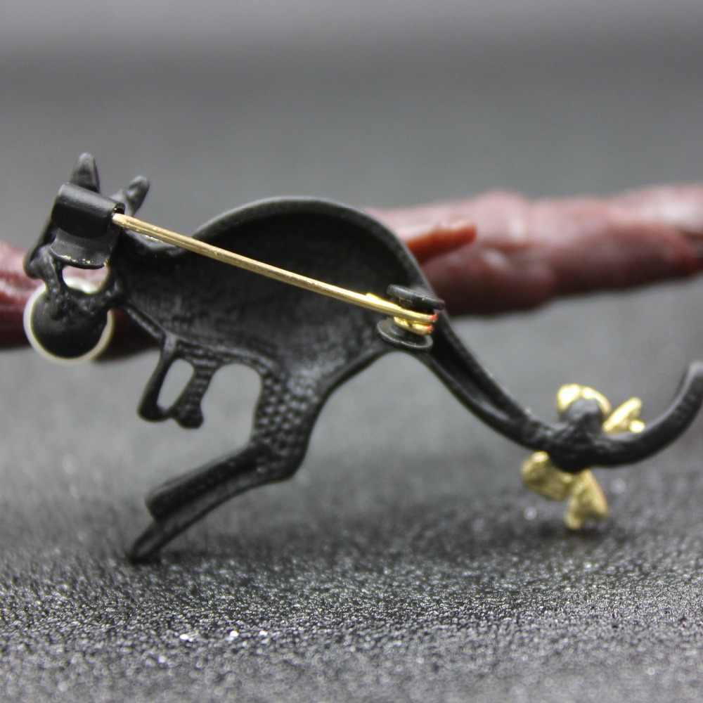 Kangaroo Lucu Bros Bros untuk Wanita Mutiara Hitam Aksesoris Enamel Rhinestone Anak-anak Pin Pria Permata Karl Bayi Perhiasan