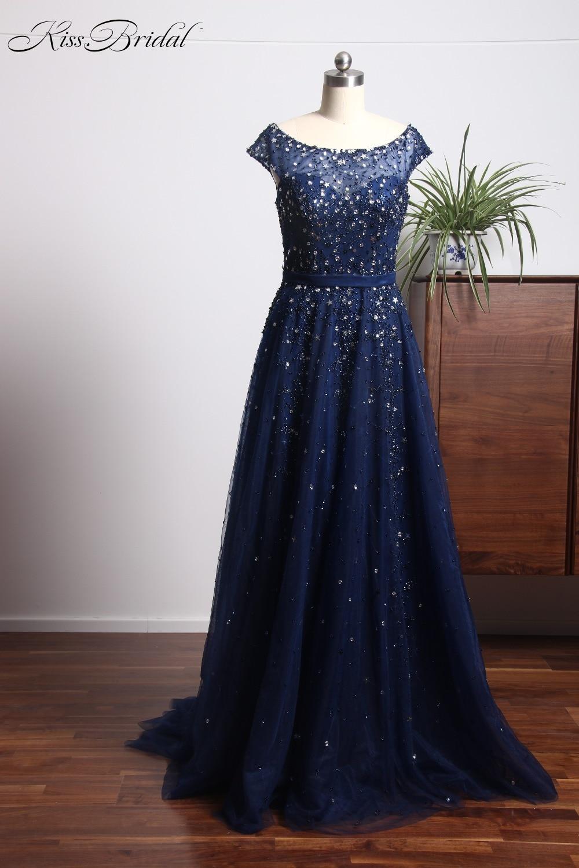 New Design Long   Evening     Dress   2018 Scoop Cap Sleeve A-Line Court Train Beading Tulle Formal   Dresses   Party Gowns Vestido festa