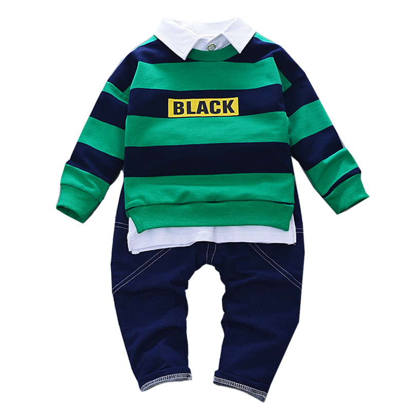 2Pcs Baby Boy Clothes Set Children Clothing Sets Products Kids Clothes Striped Gentleman T-shirts+Pants Tracksuit