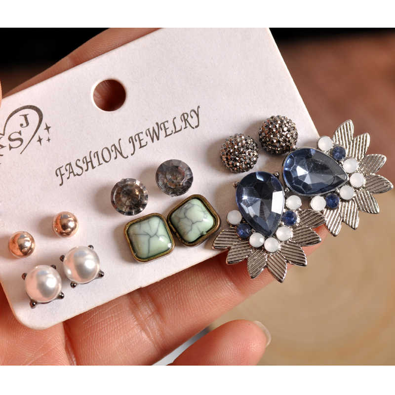 New fashion women  wholesale girls party Pearl ear stud beautiful mix-and-match 6 pairs /set earrings Christmas gifts