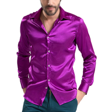 2017 NEW 6 Colors leisure Men's Clothing High-grade Emulation Silk Long Sleeve Shirts Men's Casual Shirt Shiny Satin