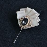 Mdiger Wholesale Leaf Men Brooches Lapel Flower Pins for Men Collar Brooch Pin of Wedding Rhinestone Brooch Jewelry 10 PCS/LOT