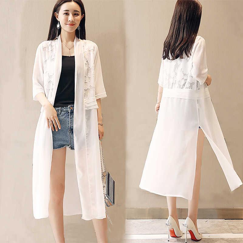 a6db836a860 2018 Summer Chiffon Lace Patchwork Blouse Women Half Sleeve Tops Loose Plus  Size Black White Chiffon