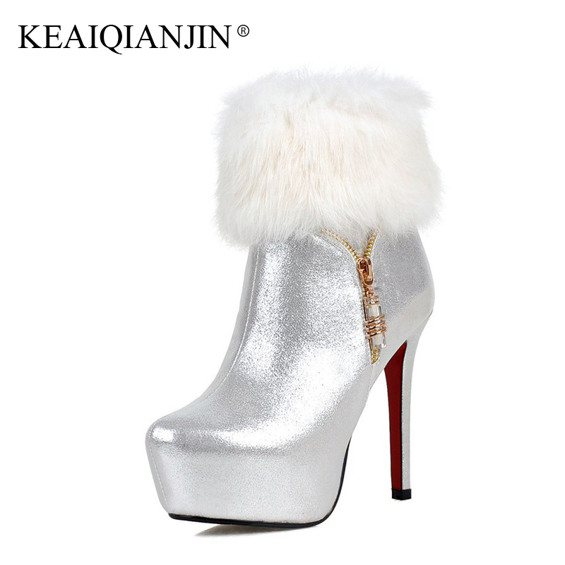 KEAIQIANJIN Woman Red Ankle Boots Winter Crystal Wedding Golden Boots Plus Size 32 - 43 White Silver Ultra High Heels Shoes 2018 ...