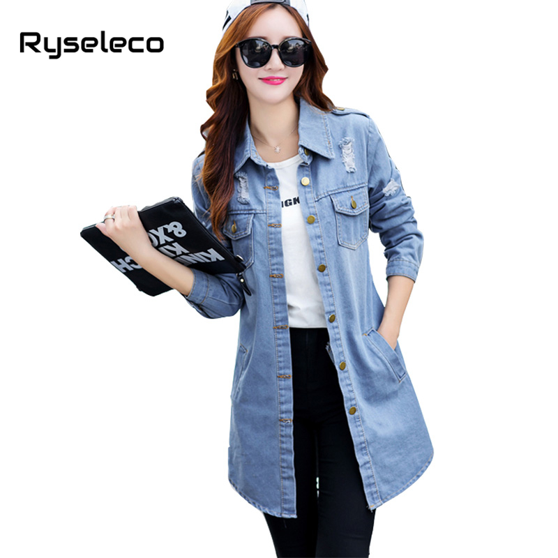 Ryseleco 2017 Women Basic Coats Autumn Long Sleeve Retro Classic Wash Denim Trench Ripped Button Front Curve Long Casual Clothes