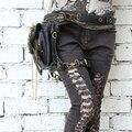 Steampunk gótico do crânio saco Do Mensageiro Do ombro bolsa feminina personalidade 2016 novos homens e mulheres da moda saco da cintura bolsa de perna