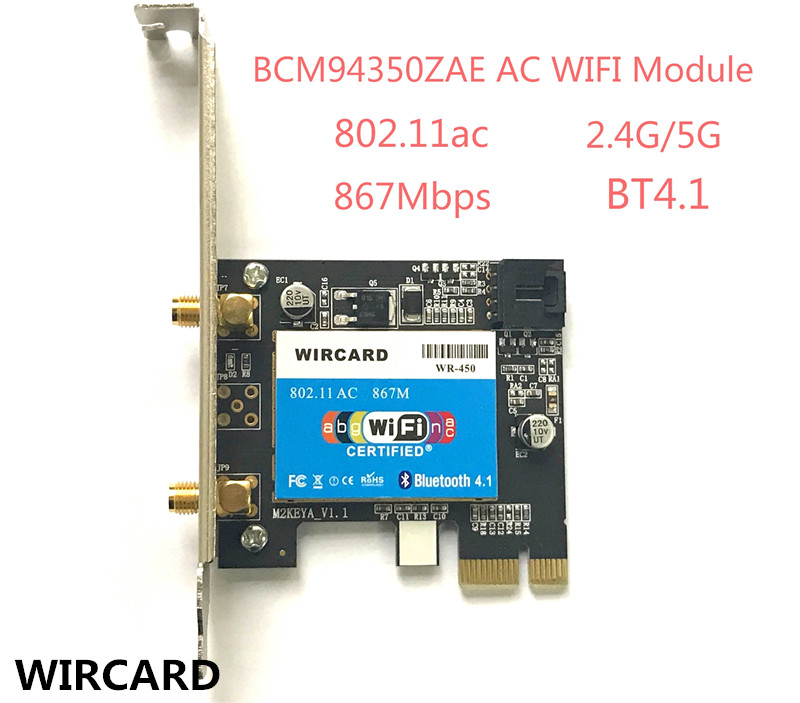 WIRCARD WR-450 802.11ac 867Mbps Desktop PCi-eX WiFi Adapter + Bluetooth 4.1 PCI Express WLAN Combo Card for Broadcom BCM94350ZAE
