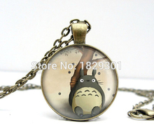 2017 New My Neighbour Totoro Necklaces Pendant Classic Animal Jewelry Glass Dome Photo Necklace Anime Pendants Gifts Girl