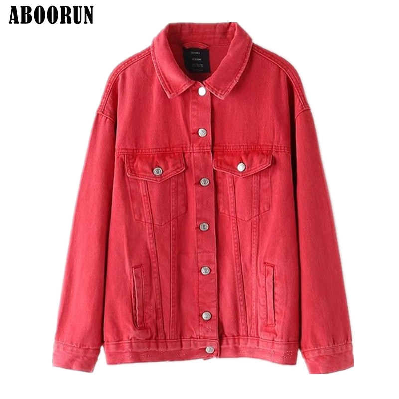 Vert Coton Pour Vestes pink Filles Femmes Automne Mode red green Black Printemps Lâche Aboorun Couleurs Rose Denim Manteau X941 Bonbons cxS8zn1Bwq